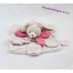 Doudou plat lapin DOUDOU ET COMPAGNIE Célestine pétale rose blanc 23 cm