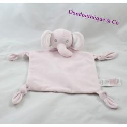 Doudou plat éléphant PRIMARK EARLY DAYS rose fleuris 30 cm
