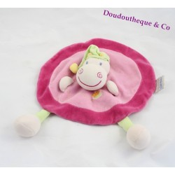 Doudou plat hippopotame NATTOU rose rond collection Hippo et Flo 28 cm