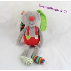 Doudou rabbit EBULOBO gray overalls red 37 cm