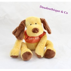 Doudou Chien Jaune Et Marron BABY NAT' Pull Orange 25cm