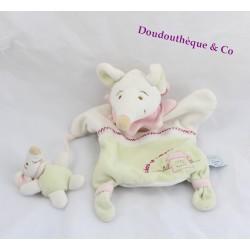 Doudou marionnette souris et son bébé Barbotine DOUDOU ET COMPAGNIE verte 26 cm