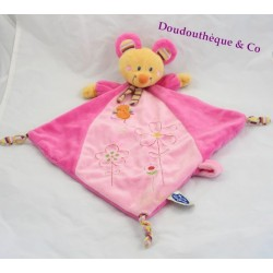 Doudou flat mouse words of children pink Rhombus Leclerc 45 cm embroideries