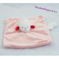 Doudou plat mouton BRIOCHE La Halle carré rose 20 cm