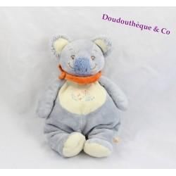 Doudou Cuby koala NOUKIE'S Australia bleu beige foulard orange 24 cm