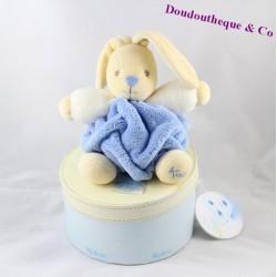 Doudou lapin KALOO Plume bleu boule blanc beige 20 cm