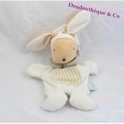 Doudou marionnette lapin MES PETITS CAILLOUX CMP beige blanc 35 cm