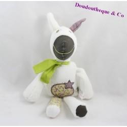 Doudou âne VERTBAUDET papillon étoile blanc 34 cm