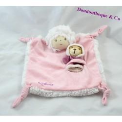 Doudou plat poupon KALOO Igloo bébé ours rose noeud 23 cm