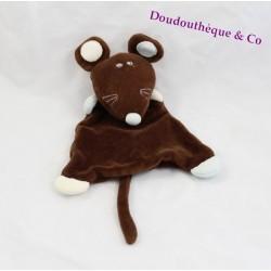 Doudou plat souris BOUT'CHOU Monoprix marron blanc 28 cm