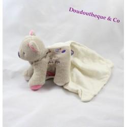 Doudou chat SUCRE D'ORGE Cajou gris rose mouchoir 15 cm