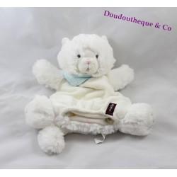 Doudou marionnette Coco chat KALOO Les Amis blanc bandana bleu 25 cm