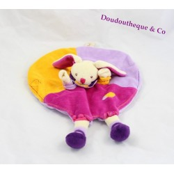Doudou plat lapin BABY NAT' rond mauve orange rose 27 cm