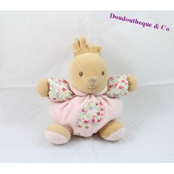 Doudou ball rabbit KALOO Liberty bird flowers 17 cm
