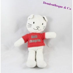Doudou chat TAPE A L'OEIL tee shirt rouge Anti chagrin 26 cm