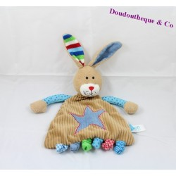 Doudou plat lapin LIEF ! marron bleu étoile 26 cm