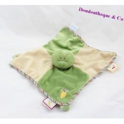 Doudou plat Grenouille Aldo NOUKIE'S Tidoo vert et beige 26 cm