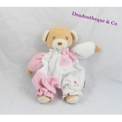 Doudou Harmonie ours BESTEVER rose blanc 20 cm