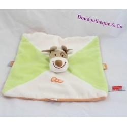 Doudou plat vache INFLUX vert blanc orange noeud 26 cm