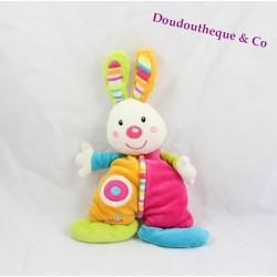 Doudou rabbit BABYSUN pink orange green blue semi flat 26 cm