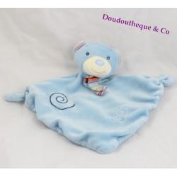 Doudou plat ours BABY CLUB C&A bleu spirales écharpe rayée 30 cm