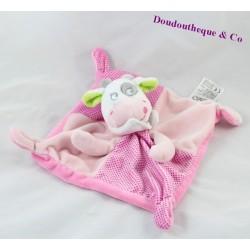 Doudou plat Vache MOTS D'ENFANTS LECLERC rose pois