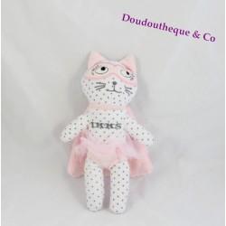 Doudou chat IKKS super héros tutu cape masque rose blanc pois gris 20 cm
