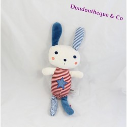 Doudou lapin TAPE A L'OEIL rayures bleu rouge étoile bleu 29 cm