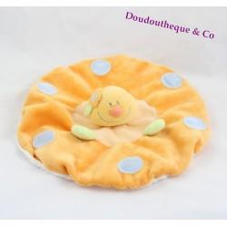 Doudou plat chenille JOLLYBABY rond orange pois bleu 25 cm