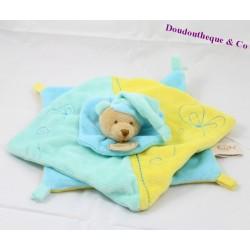 Doudou plat ours BABY NAT' carré jaune bleu 26 cm