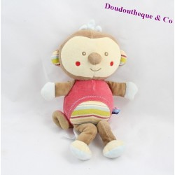 Plush monkey sugar stripes multicolored 28 cm Brown monkey