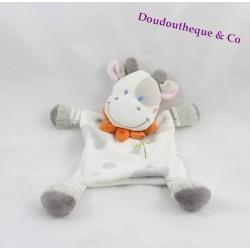 Cow flat Doudou NICOTOY white gray collar orange 27 cm