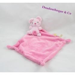 Doudou plat souris NICOTOY rose croix mouchoir étiquettes 33 cm