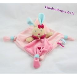 Doudou plat Perle lapin BABY NAT' Perle et Perlim rose bleu coeur 25 cm