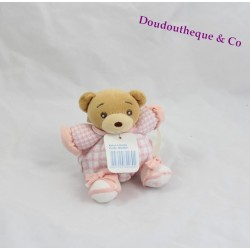 Mini doudou ours KALOO lilirose rose carreaux attache tétine 13 cm