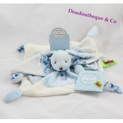 Doudou plat lapin DOUDOU ET COMPAGNIE Tatoo bleu et blanc 25 cm