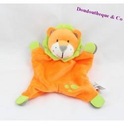 Doudou plat lion U TOUT PETITS orange vert 22 cm