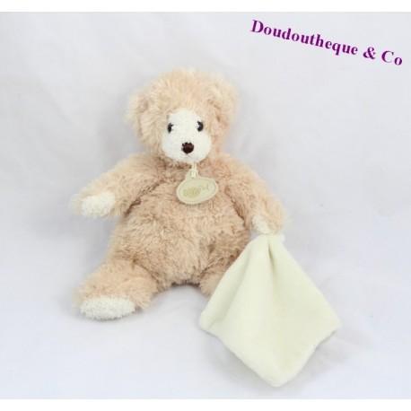 Doudou mouchoir ours beige BABY NAT' mouchoir blanc Goldy 24 cm