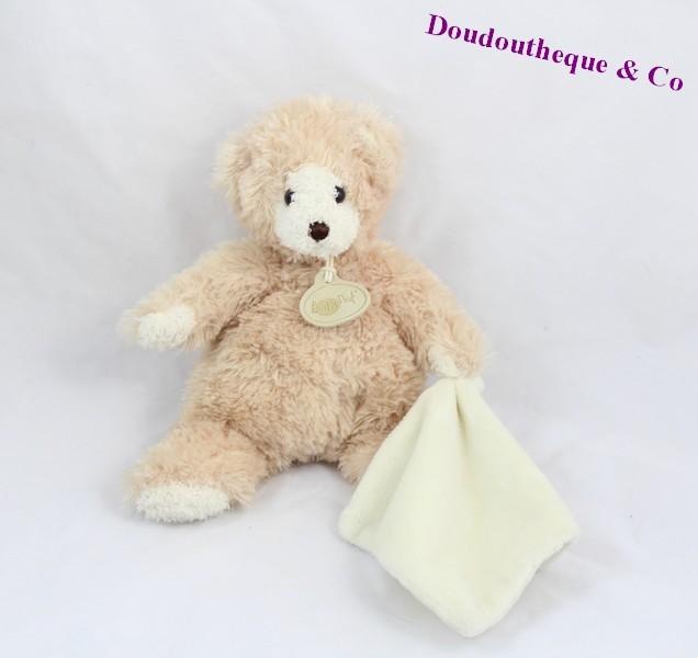 doudou mouchoir ours baby nat 39 goldy beige blanc 24 cm sos doudou. Black Bedroom Furniture Sets. Home Design Ideas