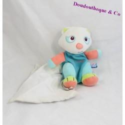 Doudou mouchoir panda SUCRE D'ORGE Cajou bleu 19 cm