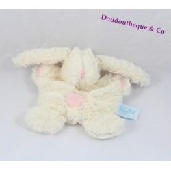 Doudou rabbit flat BABY NAT' white rose cross belly hugs