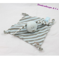 Doudou plat lapin ORCHESTRA rayures bleues gris noeud 18 cm