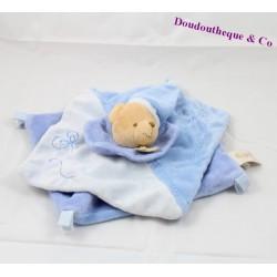 Doudou plat Ours BABY NAT' bleu fleurs brodées carré bonnet