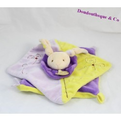 Doudou plat lapin BABY NAT' violet jaune carré 22 cm