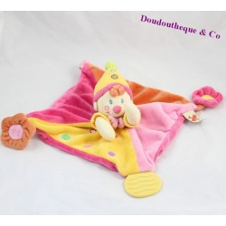 Doudou plat Clown NICOTOY jaune orange rose