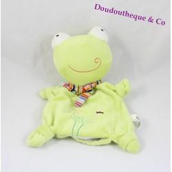 Doudou marionnette grenouille CP International vert  broderies fleurs et libellule 25 cm
