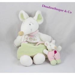 Doudou Barbotine souris DOUDOU ET COMPAGNIE avec bébé vert rose 30 cm