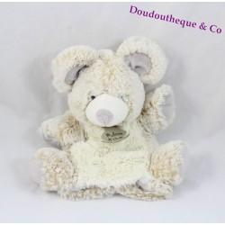 Doudou marionnette souris HISTOIRE D'OURS les z'animoos beige gris HO2133 24 cm
