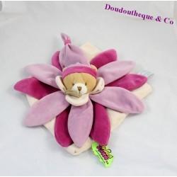 Ours plat fleur rose DOUDOU et COMPAGNIE