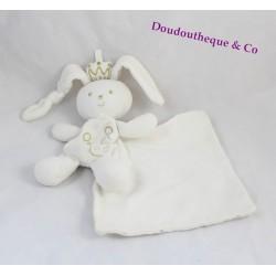 Doudou mouchoir lapin BERLINGOT roi couronne dorée 30 cm
